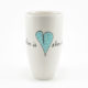 Bullet Vase Heart & Words Turquoise