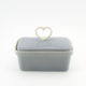 Butter Dish Heart Viva Glam Grey