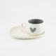 Cup and Saucer Snack Candy Love Grey