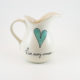 Country Jug Heart & Words Turquoise