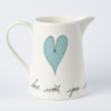 Old Farm Jug Heart & Words Turquoise