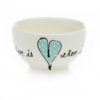 Small Bowl Heart & Words Turquoise