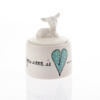Bambi Sugar Pot Heart & Words Turquoise