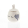 Heart Sugar Pot Heart & Words Grey
