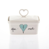 Butter Dish Heart Heart & Words Turquoise