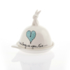 Round Butter Bunny Heart & Words Turquoise