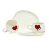 Cup and Saucer Snack Heart & Words Red