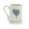 Milk Jug Heart & Words Grey