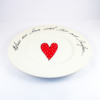 Wonky Dinner Plate Heart & Words Red