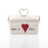 Butter Dish Heart Heart & Words Red