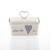 Butter Dish Heart Heart & Words Grey