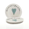 Wonky Side Plate Heart & Words Turquoise