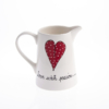 Old Farm Jug Heart & Words Red