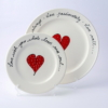 Wonky Side Plate Heart & Words Red